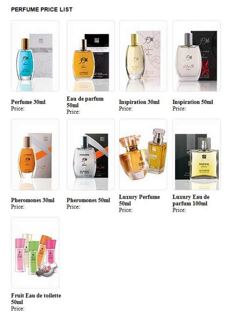 List Parfum Shop 3 useful price list templates for fashion and accessories business