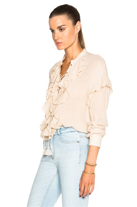 Lace Up Linen Blouse chlo 233 lace up ruffle linen blend blouse in pink lyst