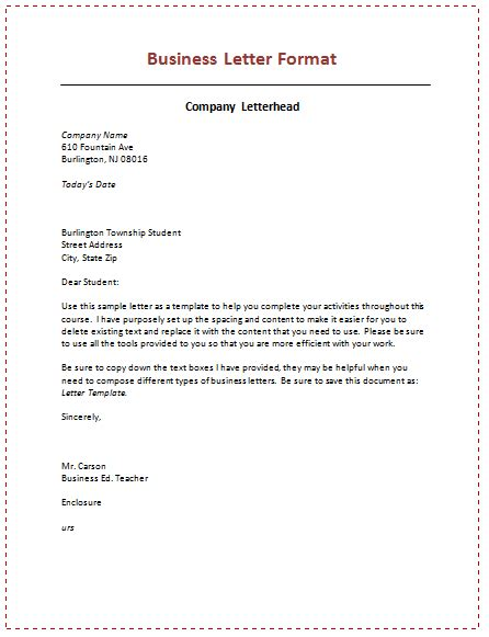 types structure and layout of business letter 6 sles of business letter format to write a perfect letter