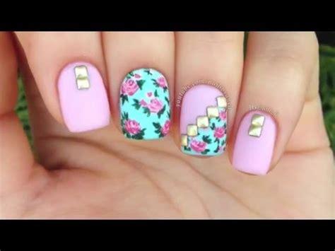 fotos uñas decoradas flores sencillas hermosas u 241 as con flores y accesorios nail art tutorial