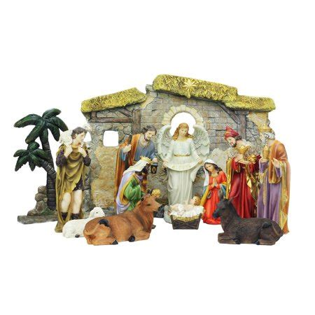 christmas stable walmart 13 multi color traditional religious nativity set with stable 23 25 quot walmart