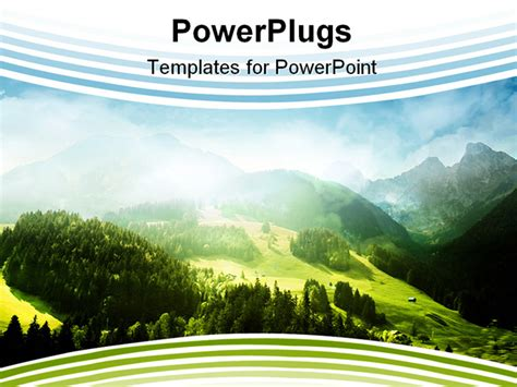 template powerpoint landscape mountains with green forest landscape and blue shy
