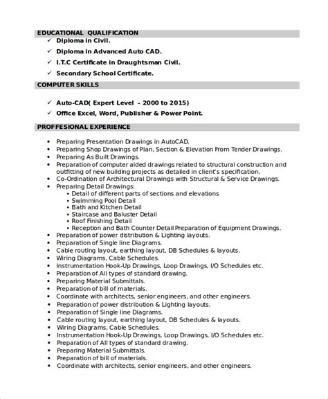 civil draughtsman resume sle 7 draftsman resume templates free word pdf document