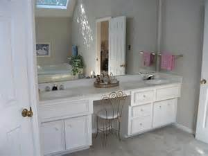 sink bathroom vanity with makeup area in master