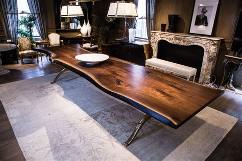 Brass Dining Table Base live edge table solid american black walnut live edge