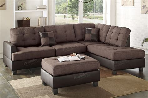 chocolate polyfiber two tone sectional sofa with ottoman