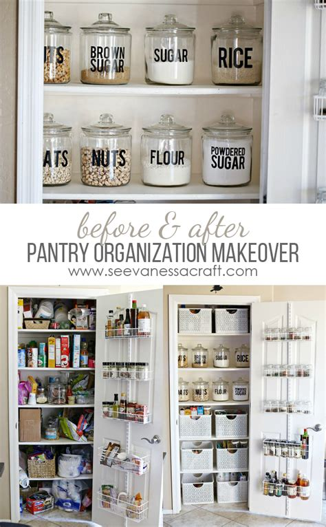 small kitchen pantry organization ideas organization small pantry makeover see craft