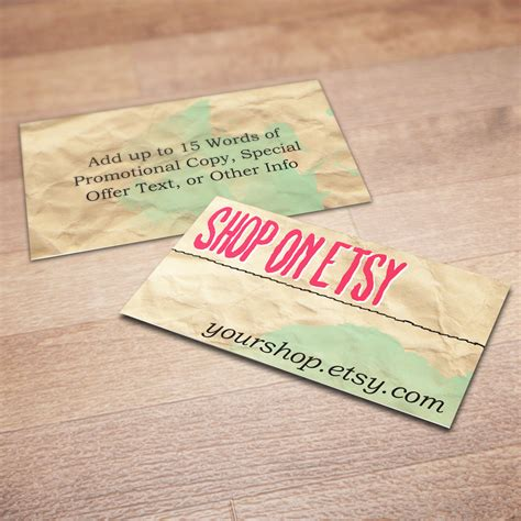 Esty Gift Card - 100 custom business cards for promoting your etsy shop