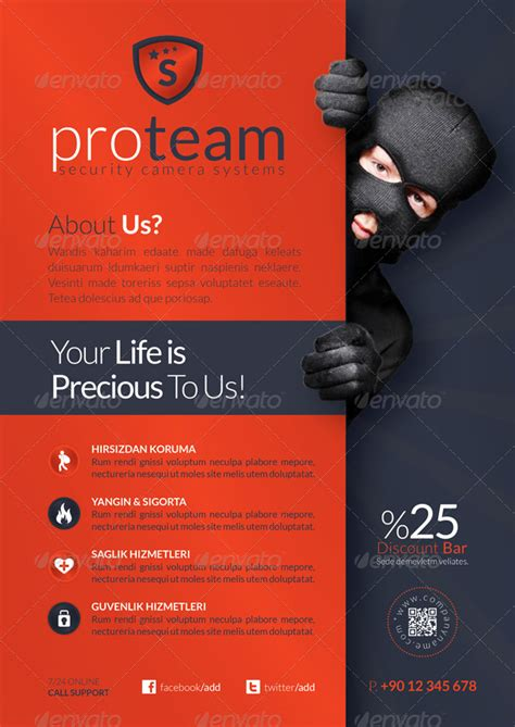 Security Systems Flyer Template By Grafilker Graphicriver Security Company Flyer Template