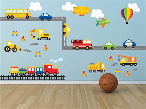 Car Wall Decals For Nursery Truck Wall Decal Construction Wall Decal Plane Wall