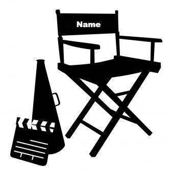 Director Chair  Custom With YOUR Name Black VINYL Decal