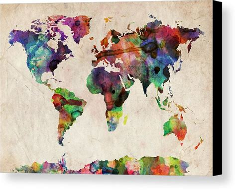map world canvas world map watercolor canvas print canvas by michael