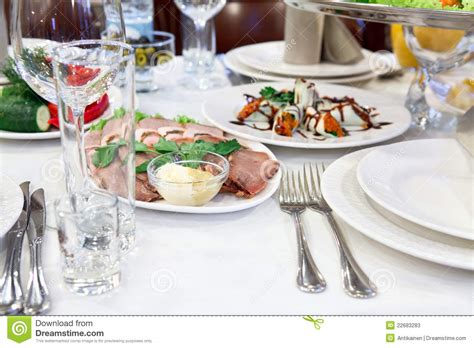 dinner table with tasty food stock photos image 22683283