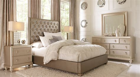 sofia vergara silver 5 pc upholstered bedroom