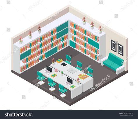 modern interior design books modern isometric book library interior design stock vector