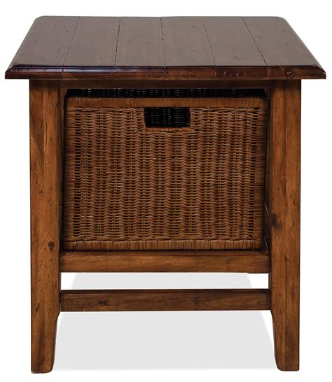 storage table with baskets rectangular end table with storage basket by riverside