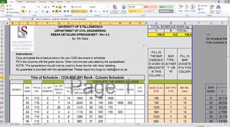 Rebar Calculator Spreadsheet by Rebar Bending Schedule Spreadsheet Reinforcement Bending
