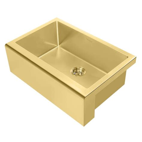 Brass Kitchen Sink Whitehaus Collection Noah Plus All In One Apron Front Stainless Steel 30 In Single Bowl Kitchen