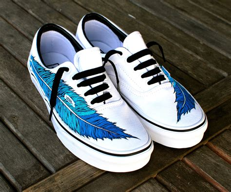 customized shoes painted eagle feather on white vans era shoe
