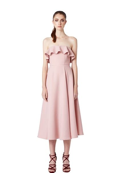 Strapless Frill Dress In The Style Of Miller by By Johnny Strapless Ruffle Dress Contemporary