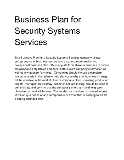 business plan template for security company security business plan courseworkexles x fc2