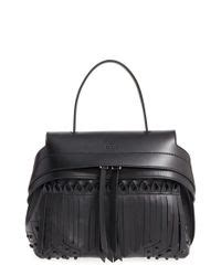 Tods Mini Wave Black Grained tod s mini wave fringe leather satchel in black lyst