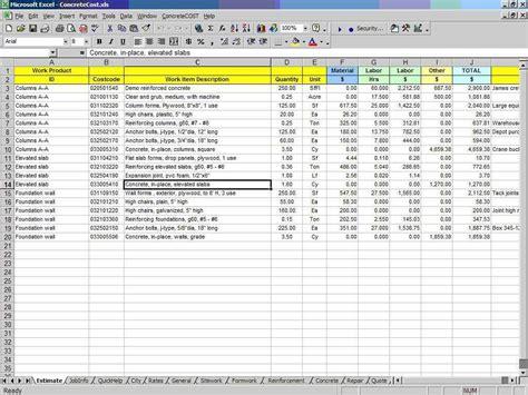 basement estimate spreadsheet estimate spreadsheet