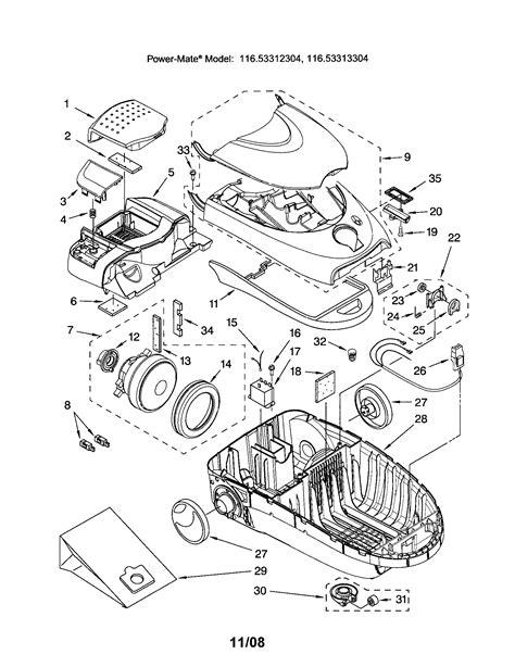 kenmore vacuum model 116 parts diagram kenmore vacuum parts model 116 canister