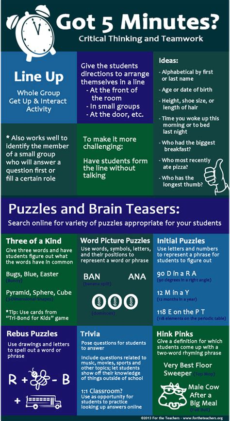 got five minutes 15 tasks that will help organize your got five minutes practice critical thinking and teamwork