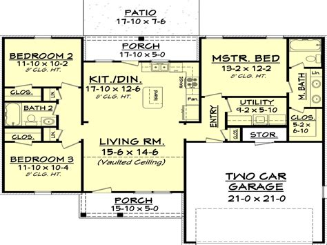 1300 square foot house beds 2 baths 1300 sq ft plan 430 58 main floor plan