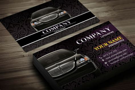 limo business card template limousine business card template black business card