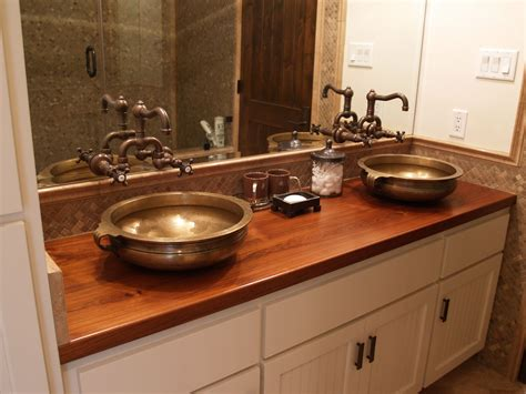 wood counter bathroom sink cutouts in custom wood countertops