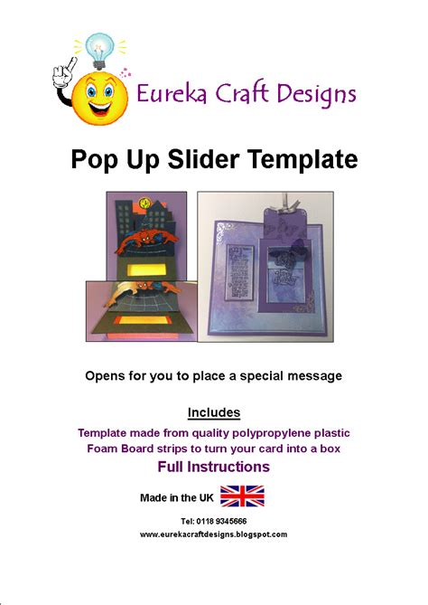pop up slider card template eureka craft designs templates