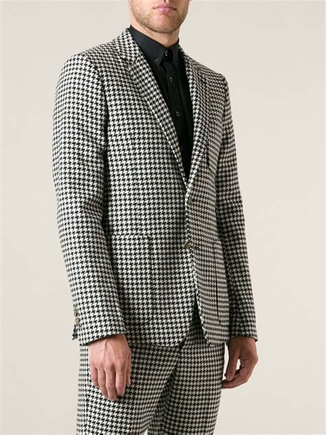 black and white pattern jacket ami houndstooth pattern jacket in black for men lyst