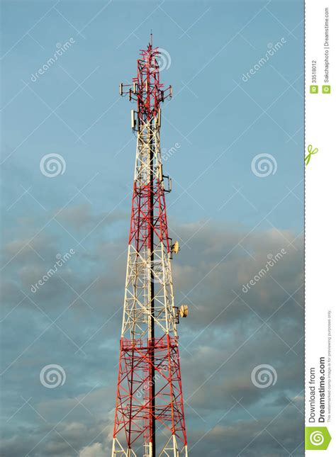 telecommunication tower with cell phone antenna system stock photography image 33518012