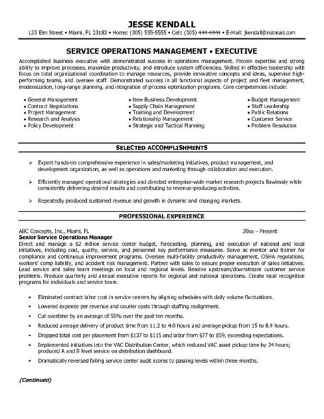 Resume Exles For Service Manager Director Of Operations Resume Sle Recentresumes