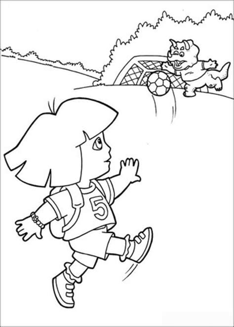 dora soccer coloring pages dora is a soccer player coloring page free printable
