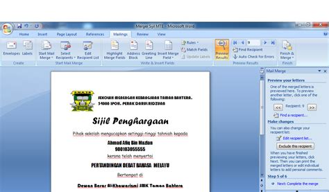 membuat kartu nama menggunakan mail merge bosskings tugasan 2 cara membuat sijil menggunakan mail