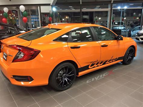 honda civic si modified modified 2016 honda civic in orange with turbo script