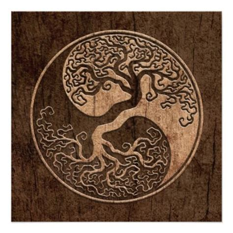 yin yang tree tattoo tree of yin yang with wood grain effect card sun