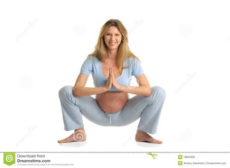 Suspended Ceiling Plasterboard by Pregnant Woman Practicing Yoga Standing Royalty Free