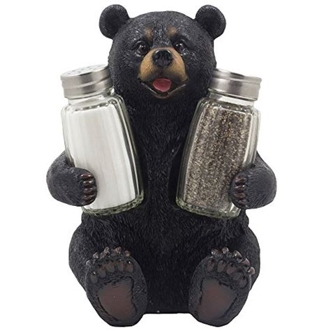home interior bears decorative black glass salt and pepper shaker set with holder figurine sculpture for rustic