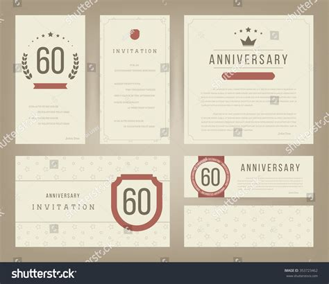 60th wedding anniversary card templates free 60th anniversary invitation cards template stock vector