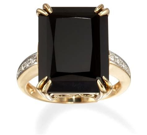emerald cut black onyx ring in 14k gold with diamonds
