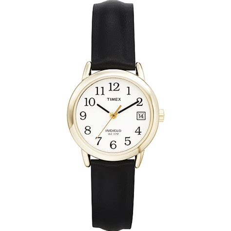 timex s easy reader black leather