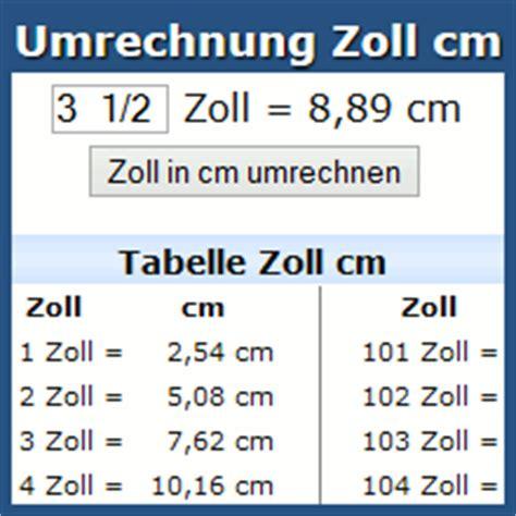 zoll cm tabelle umrechnung zoll cm rechner und tabelle