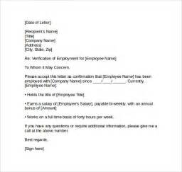 Employment Letter Canadavisa Employment Verification Letter 14 Free