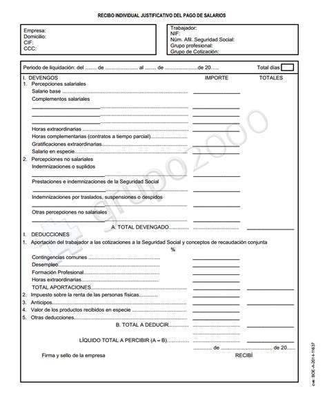 Plantilla De Nomina Para Rellenar | publicado en el boe el nuevo modelo oficial de n 243 mina