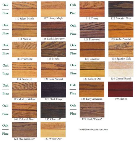 zar wood stain color chart pine oak paint colors for