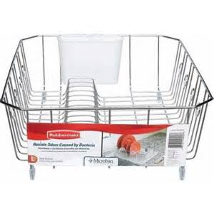rubbermaid large antimicrobial dish drainer chrome